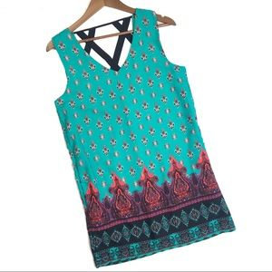 GB Teal Patterned Dress with Pockets Size Small
